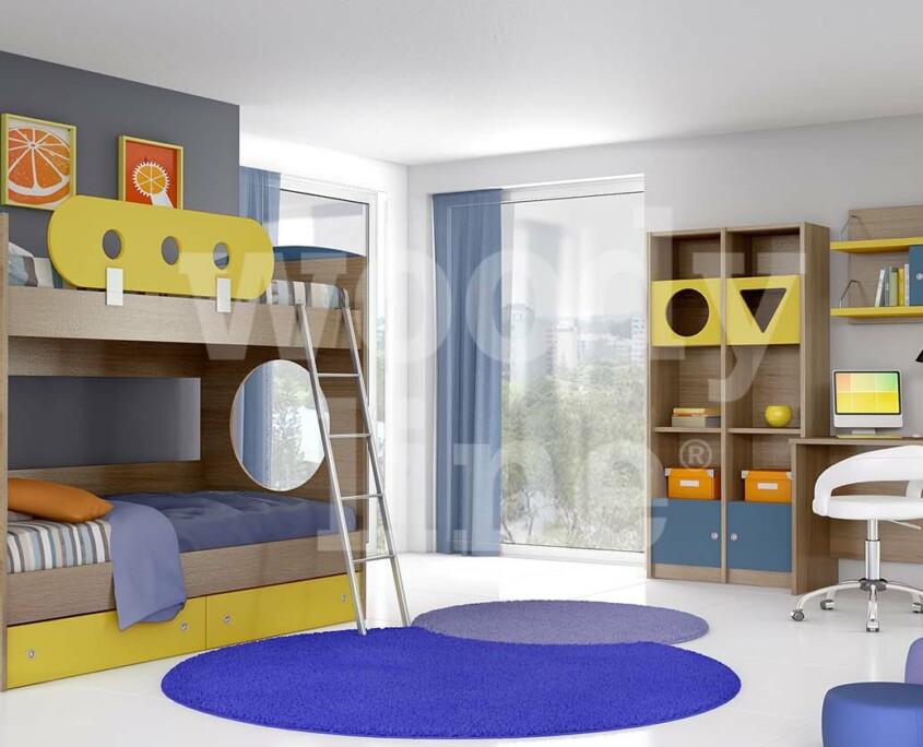 Παιδικό Δωμάτιο Ξύλινο Κουκέτα για 2 παιδιά πάνω κάτω Κύκλος 2