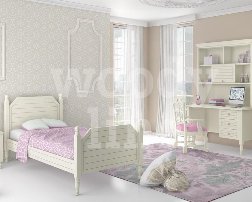 Παιδικό Εφηβικό Υπνοδωμάτιο Ξύλινο Κλασικό Γραφείο Συρτάρια Ντουλάπια Βιβλιοθήκη Μισή Καρέκλα Εταζέρα Κομοδίνο
